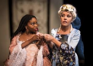 Bethany Matthis-Montgomery and Judy Zimola in The Gamester at Masquers Playhouse