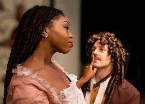 Bethany Matthis-Montgomery and Rick Wood in The Gamester at Masquers Playhouse