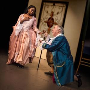 Bethany Matthis-Montgomery and David Weiner in The Gamester at Masquers Playhouse