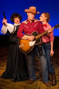(L–R) Michelle Pond, Craig Eychner, and Shay Oglesby-Smith in Johnny Guitar, The Musical at Masquers Playhouse.