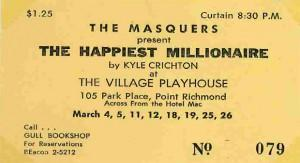 First Masquers show in residence at the Village Playhouse (now Masquers Playhouse), 1960