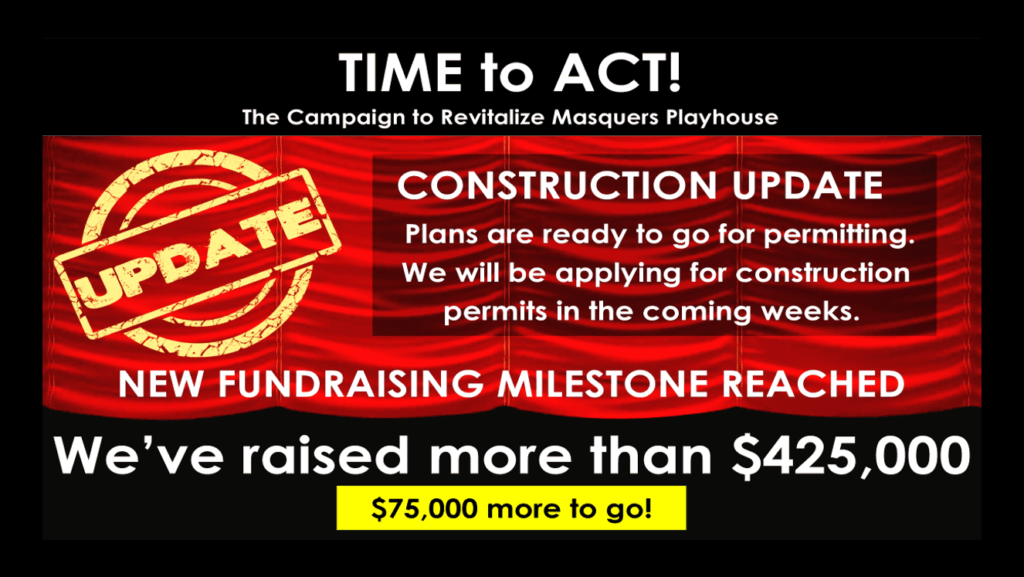 September 2019: Masquers reaches Fundraising Milestone!